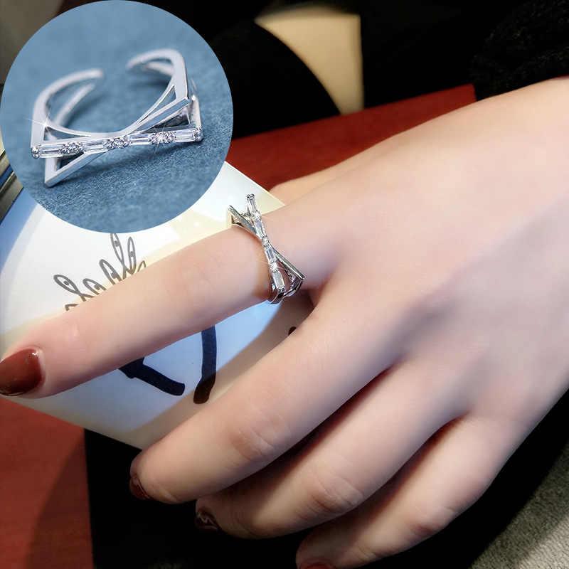 หลายสไตล์เปิดผู้หญิงหมั้นแหวนคริสตัล zircon silver snake แหวนของขวัญเครื่องประดับงานแต่งงาน