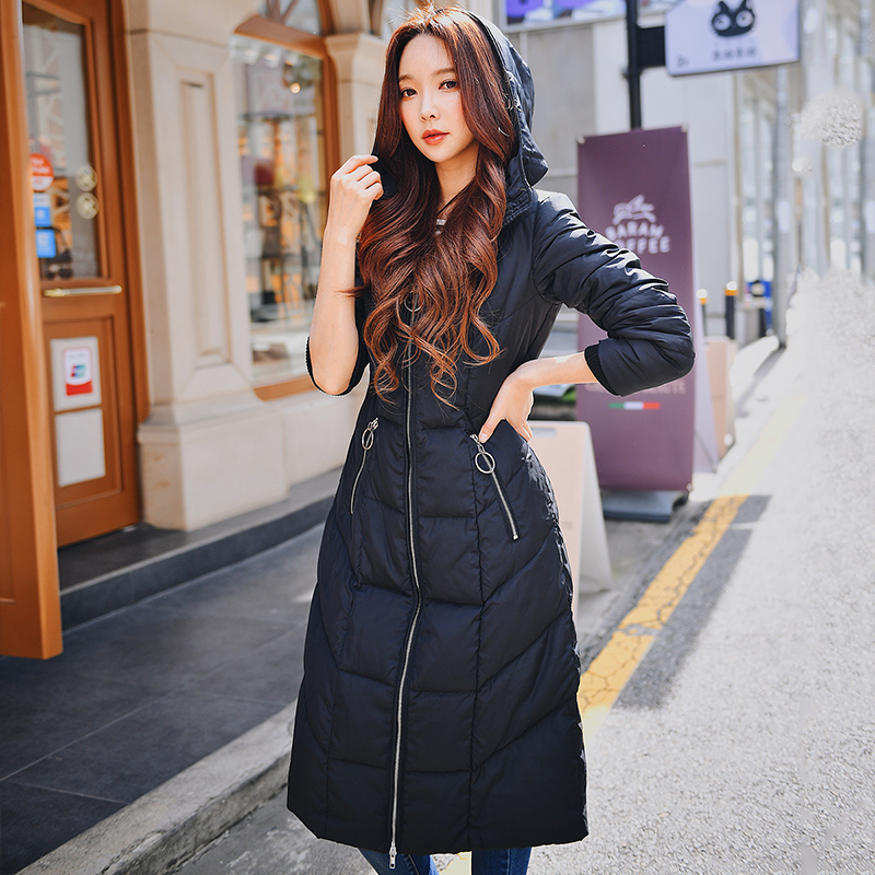 Dabuwawa Winter Black Long Warm Down Coat Women Hooded Thick High Street Casual Outerwear Down Coats Female D18DDW042