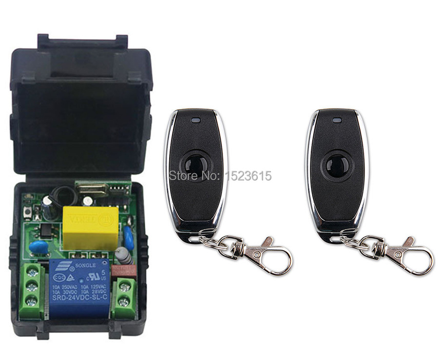 latest AC 220 V 1CH Wireless Remote Control Switch System 1pcs Receiver + 2pcs one-button metal Remote 315mhz/433mhz wireless service call bell system popular in restaurant ce passed 433 92mhz full equipment watch pager 1 watch 7 call button