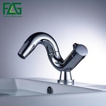 FLG Горячая хромированная отделка 360 градусов вращающийся Латунный однорычажный водопроводный кран для ванной раковины смеситель для раковины кран