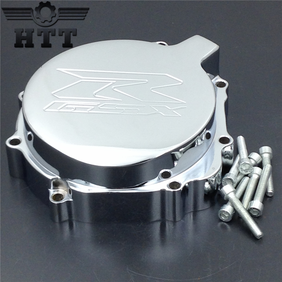 Aftermarket free shipping motorcycle parts  Engine Stator cover   for Suzuki 2004 GSXR600 750 GSXR1000  left side CHROME engine cover set with chrome plated pull starter cylinder cover side cover screws free shipping 85108