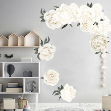 PVC 3d blanc pivoine décoration murale mignon papillons stickers muraux art stickers décoration de la maison chambre mur art(China)
