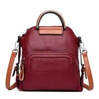 Two Belt New Multifunction Female Backpack Leather Bagpack Travel Bags For Teenager Girls Female Rucksack Shoulder bag Mochila