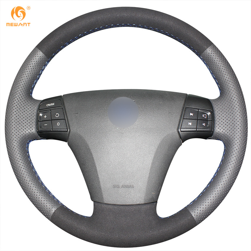 MEWANT Black Genuine Leather Black Suede Car Steering Wheel Cover for Volvo S40 2006-2012 V50 2005-2011 mewant black genuine leather black suede car steering wheel cover for mitsubishi lancer ex outlander asx colt pajero sport