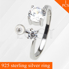 LGSY adjustable 925 sterling silver ring accessories with bar for stick pearls onto