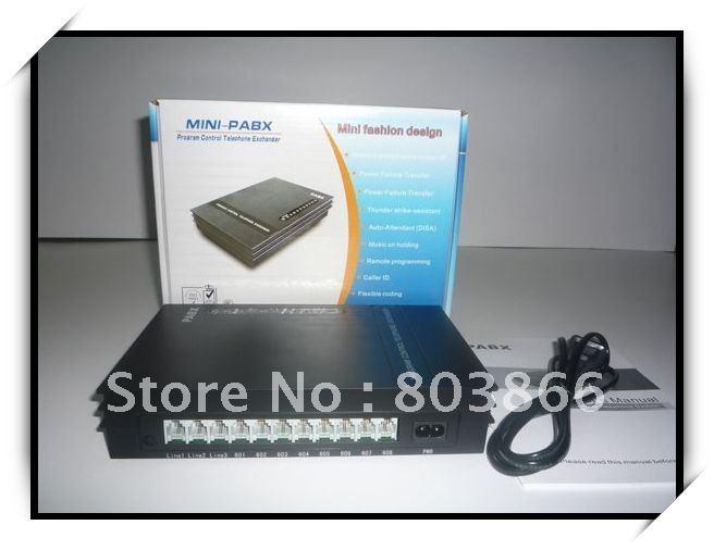 Vente chaude-SV308 MINI PBX (3 lignes et 8 Extensions système PABX)