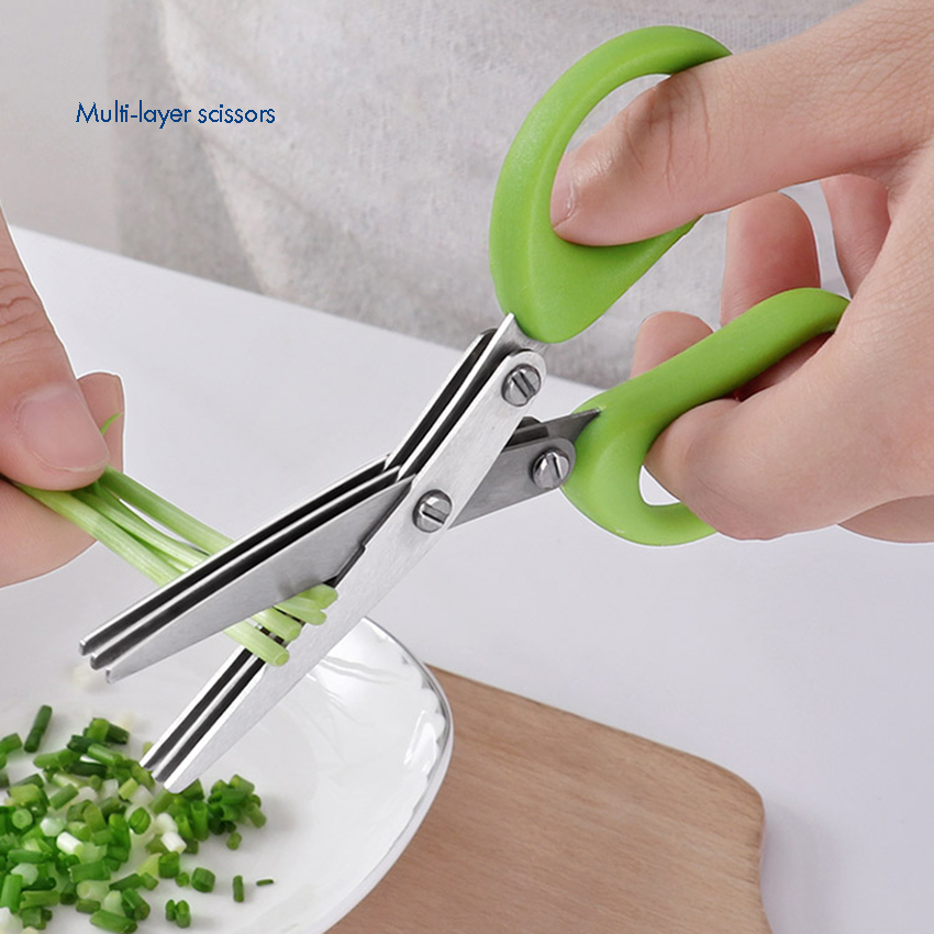 Multipurpose Herb Scissors 3-Layers Scissors Stainless Steel Blades Time-Saving Kitchen Vegetables Cutting Shears Chop Scissor