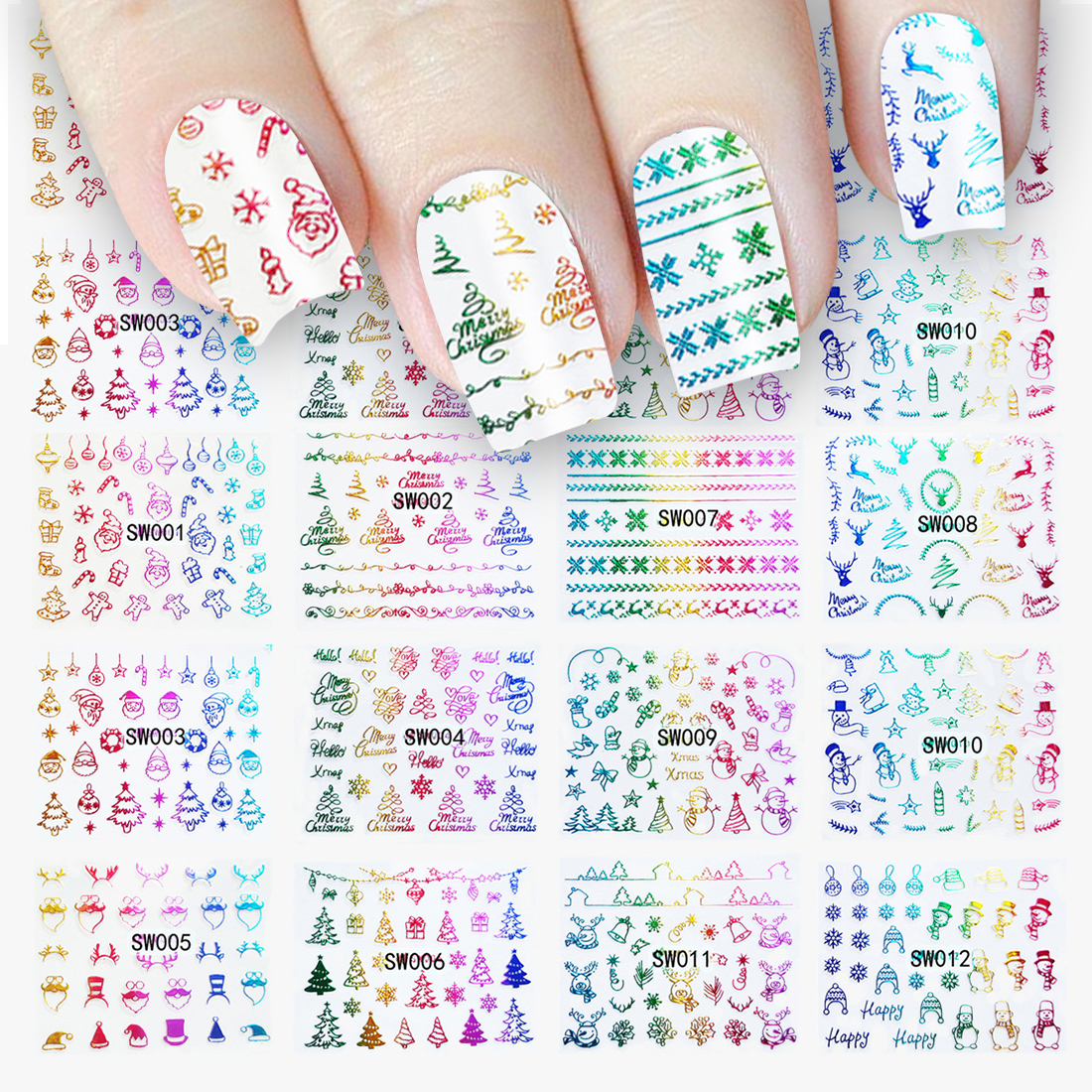 Health & Beauty Christmas 3d Nail Stickers