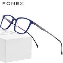 9b7280977 FONEX نظارات بصرية بإطار من الأسيتات الإطار الرجال مربع النظارات الطبية 2019  التجارة قصر النظر نظارات الذكور Screwless نظارات