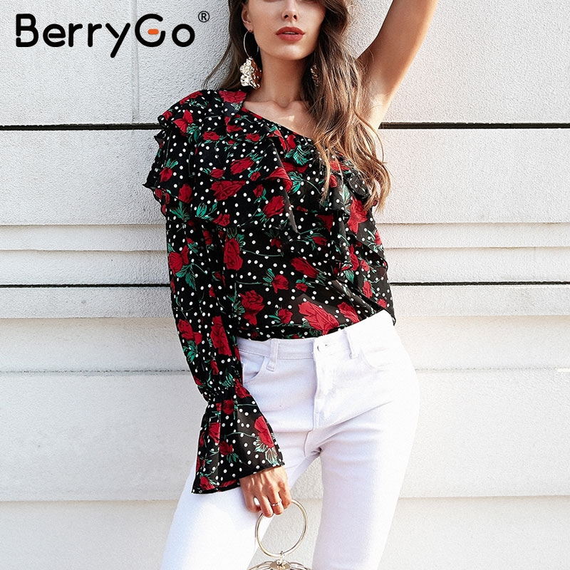 BerryGo One shoulder long sleeve ruffle   blouse   women Floral print chiffon   blouse     shirt   Sexy flare sleeve ladies tops summer 2018