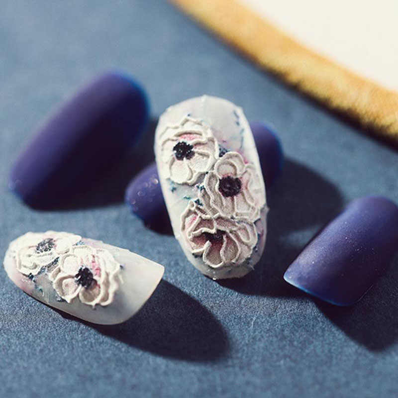 New Fashion 3D Water Decals Nail Art Stickers Acrylic Engraved Flower Nails Sticker Embossed Flower Decorations Manicure Z062