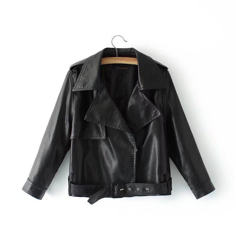 Womens Autumn Street Trend Bikermoto   Leather   Jackets 2019 New Females Fashion Lapel Belt Locomotive   Leather   Pu Jacket Coats