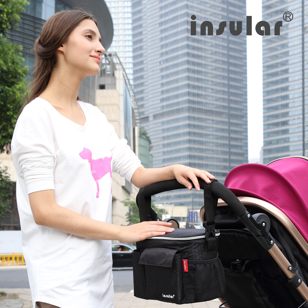 Купить с кэшбэком Insular Brand Thermal Insulation Baby Diaper Bags For Strollers Waterproof Nappy Changing Bags Mommy Stroller Bags Cooler Bags