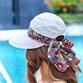NUEVOS 2016 Sombreros de Verano Para Las Mujeres Plegable Anti-UV Amplia Grandes Brim Ajustable Mujeres \'s Sombrero de Verano