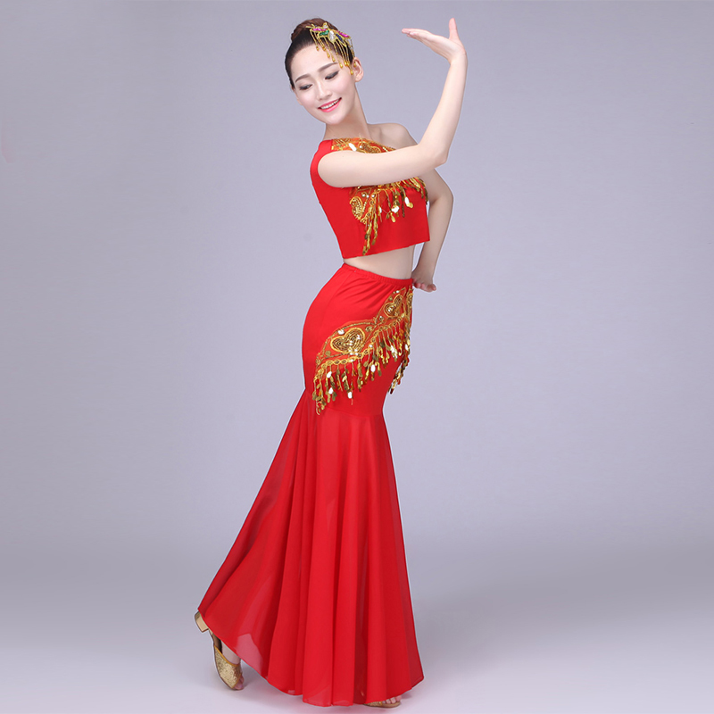 Novelty & Special Use A Lucky Peacock Dance Costume Cctv Opening Dance Skirt Red Yellow Skirt Costumes Ethnic Costumes And Stage.