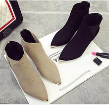 AREQW2017 Autumn and Winter New European and American Fashion Metal Pointed Fine with Women's Boots Matte High-heeled Bare Boots