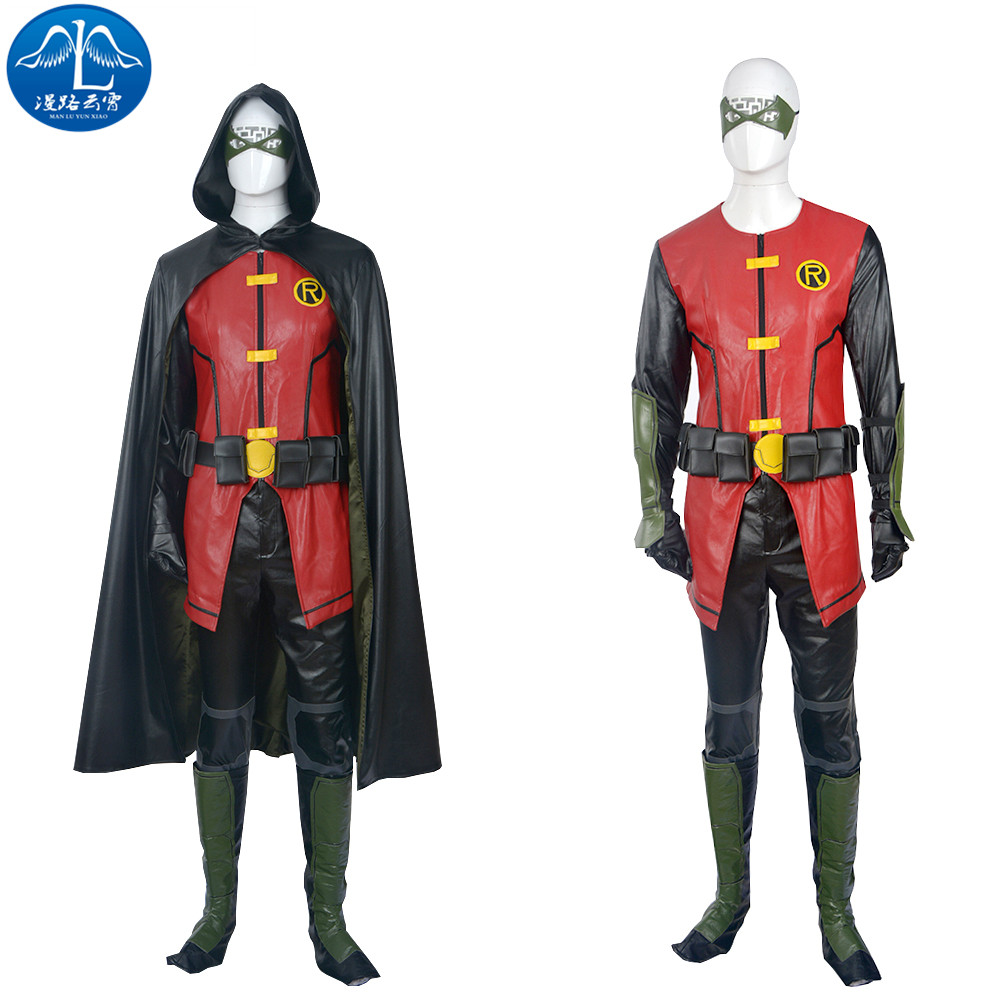 Manluyunxiao Young Justice Косплэй costune Робин костюм Для мужчин полный комплект костюмы на Хэллоуин для Для мужчин индивидуальный заказ