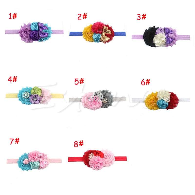 Newest Girl Baby Headband Toddler Lace Bow Flower Hair Band Accessories Headwear A19243