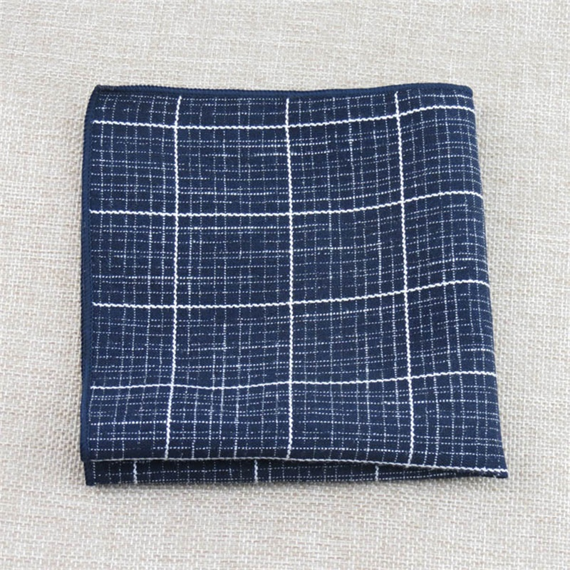 Mantieqingway Men Fashion Plaid Printed Cotton Polyester Handkerchiefs Hankies For Men's Suit Pocket Square Chest Towel