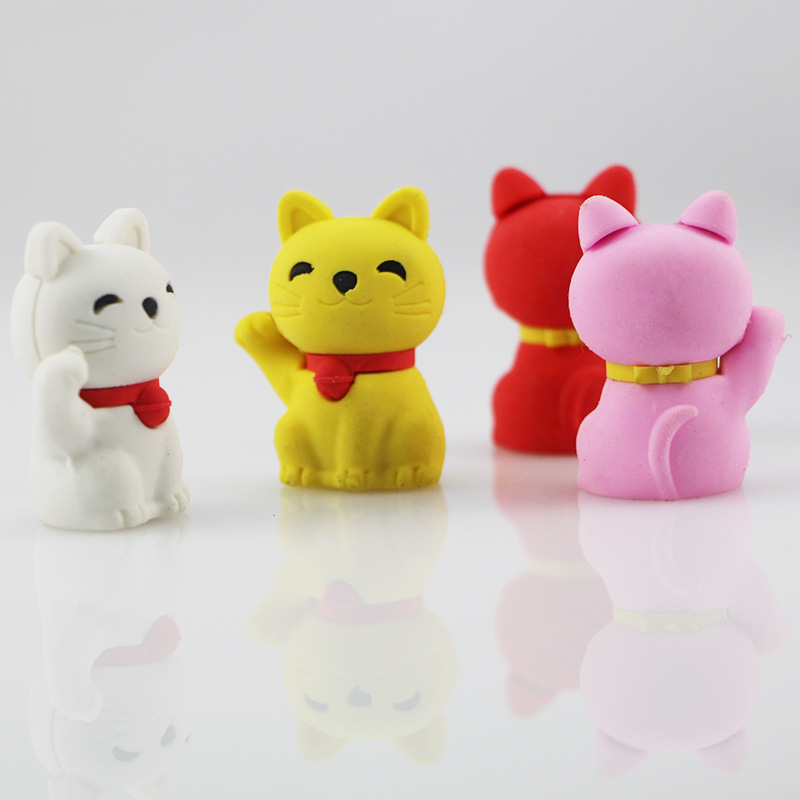 1pcs Cute Cartoon Lovely Lucky Cat Eraser Children Learning Stationery Kawaii School Supplies Papelaria Gift For Kids