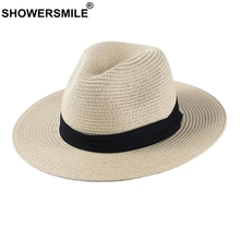 SHOWERSMILE Panama Hat Men Classic Straw Jazz Women Beige Outdoor Casual Hawaiian Ribbon Sun Protection Summer Unisex