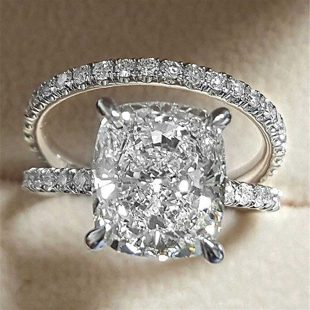 IPARAM Zircon Ring 2019 Women Wedding Bridal Jewelry Luxury Silver Square 2PC Europe and America Zircon Engagement Ring