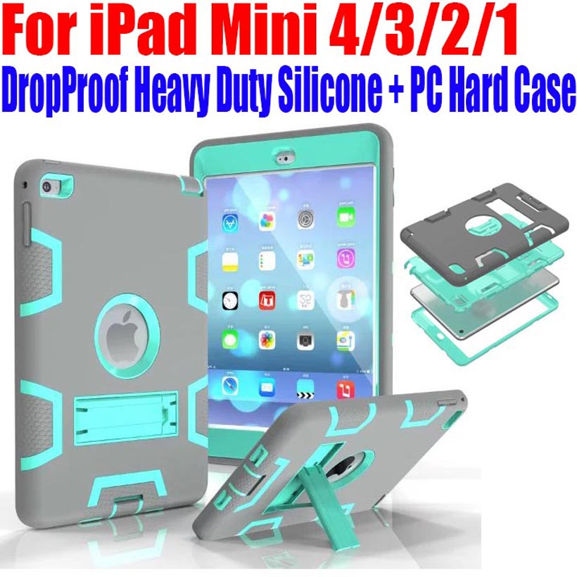 20pcs/Lot Kids Safe Armor Drop Shock Proof Heavy Duty Silicone + PC Hard Case For iPad Mini 4/3/2/1 With Screen Protector IM409