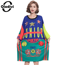 Oladivi Plus Size Women Clothing Fashion Stars Printing Dress Casual Loose Short Dresses Girl Long Top Tunic 2017 Summer Vestido