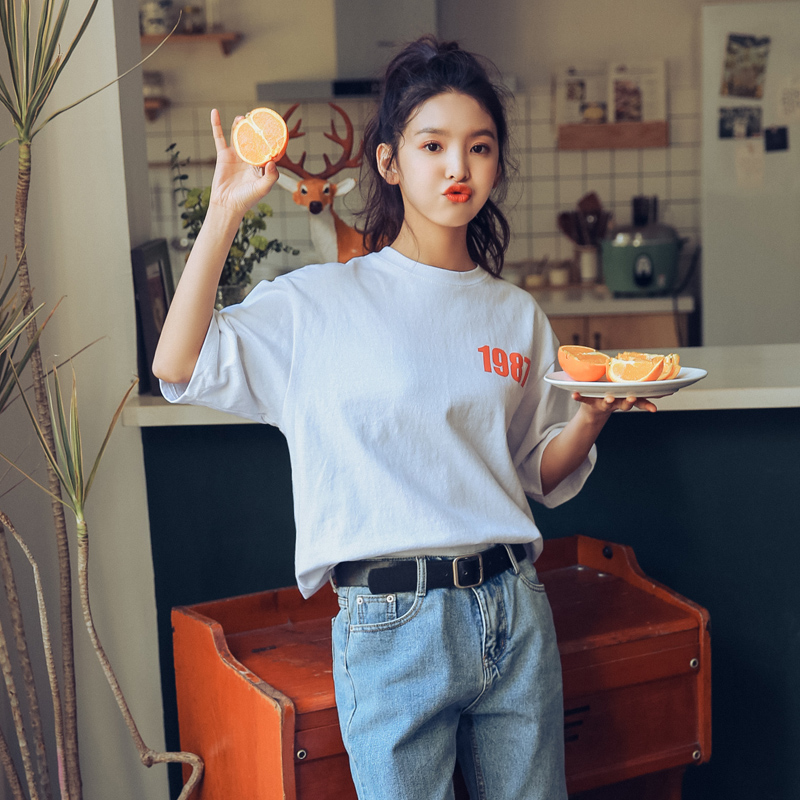 Korean Fashion Letters Graphic T Shirts Plus Size Women