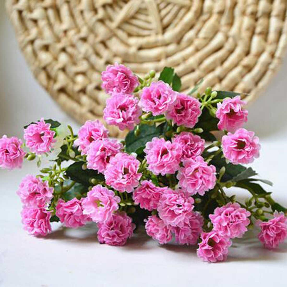 Moda sztuczne jedwabne kwiaty goździk 30 pąków kwiaty 6 oddziałów 1 bukiet matka kwiat bzu Craft na wesele strona główna