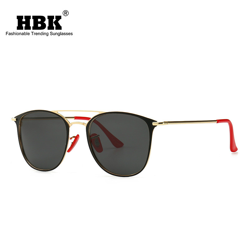 HBK Fashion Polarized Sunglasses Men Retro Sun Glasses Brand Designer 2019 Vintage Square Mirror Lens Glasses Women UV400 Oculos