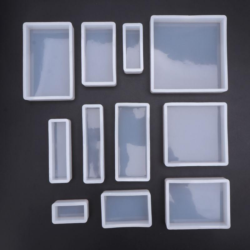 1 Set Geometric Epoxy Mould Set Square Rectangular DIY Handmade Crafts Silicone Mold Decoration Jewelry Making Molds