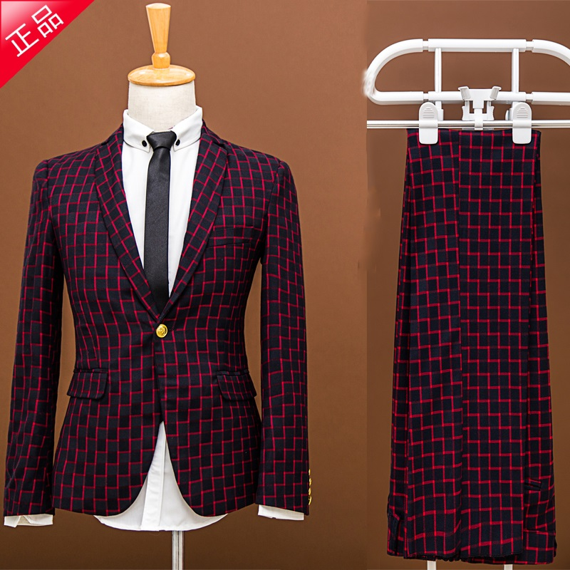 New Plaid Suit Set The Groom Married Male Slim Spring Formal Dress Male Suit Piece Set Prom Party Blazer Trousers