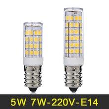 Mini E14 LED Lamp 5W 7W LED Light 220V LED Bulb Corn Light SMD2835 Chandelier Pendant Refrigerator Light Replace Halogen Lamps