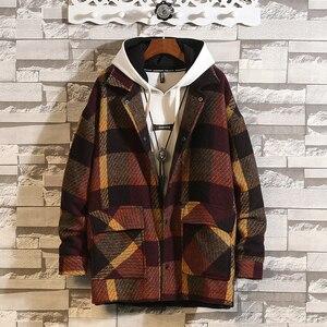 Image 5 - Mens Trench Khaki 2019 Winter Plaid Design Woolen Coat Men Fashion Single Breasted Pea Jacket Big Size 5XL Red Overcoats #3093
