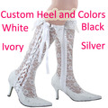 Wedopus Sexy White High Heel Wedding Boot Lace Cover Pointed Toe Bridal Popular Fashion Shoes for Women