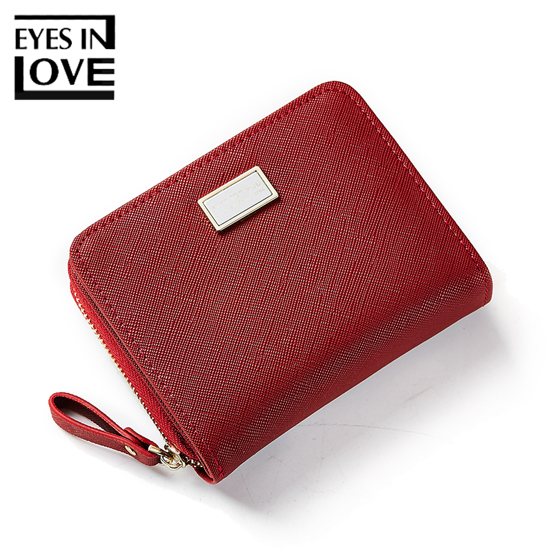 Eyes In Love Women Short Leather Wallet Casual Bag For Teenager Girl Simple Solid Small Purse Card Holder Fashion Female Purses