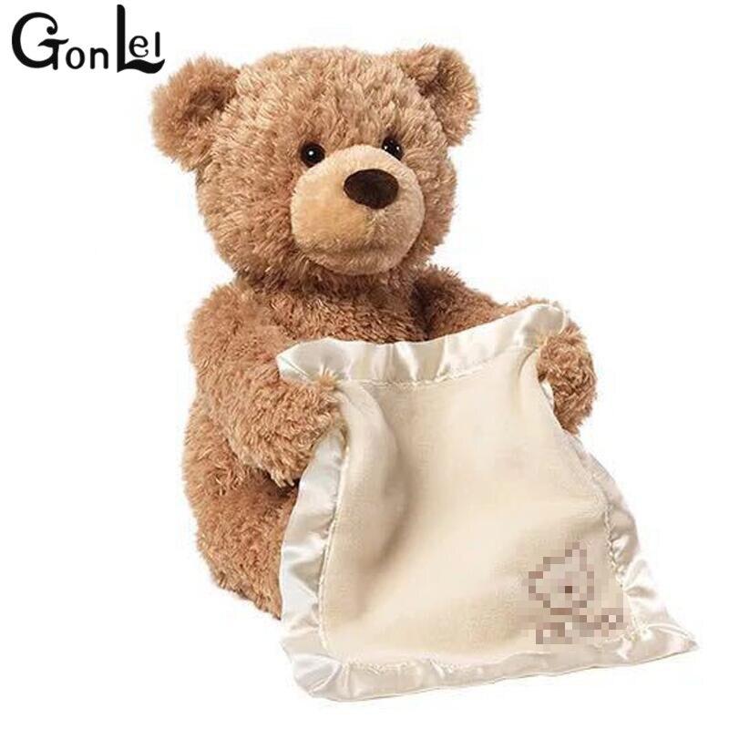 (GonLeI) peek a Boo Teddy Bear Gioco Hide And Seek Bella Del Fumetto Peluche Per Bambini Regalo Di Compleanno 30 cm Sveglia di Musica Orso giocattolo della peluche