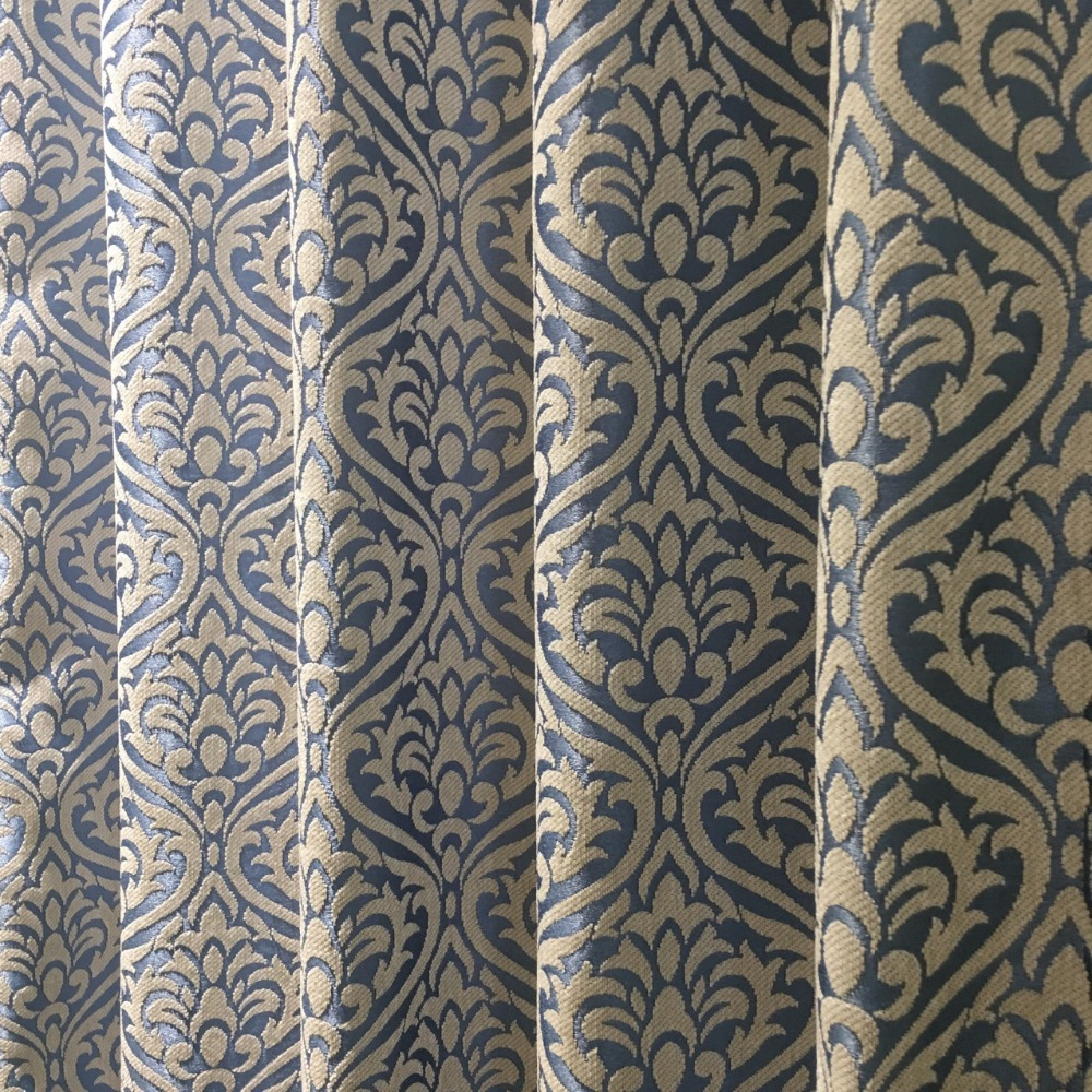 Deluxe Euro Small Damask Flower Light Blue Chenille Jacquard Curtain Drapery  Upholstery Fabric 280cm Width Sell By Meters