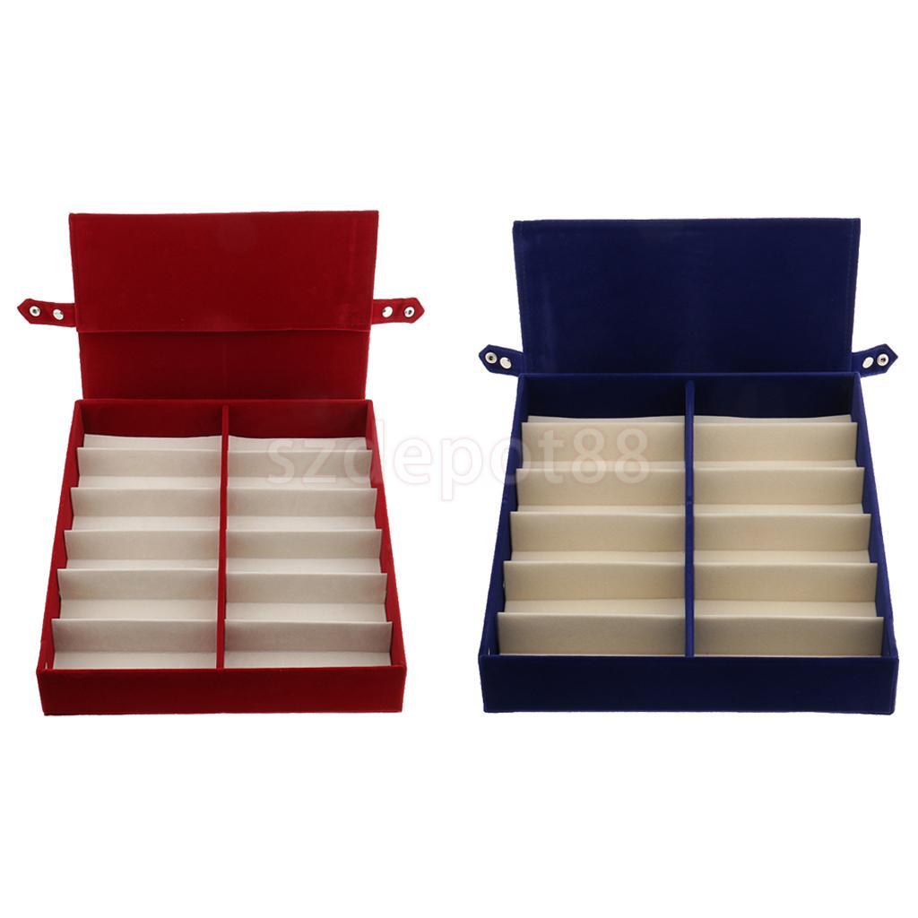 2 pièces 12 fentes rétractable couvercle lunettes boîte de rangement lunettes de soleil bijoux écrin de montre support Rack bleu + rouge