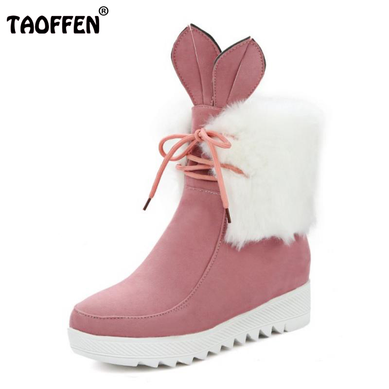 TAOFFEN Women Cute Lace Up Boot Fashion Snow Botas High Increasing Shoes Woman Winter Warm Thicked Fur Ankle Boots Size 34-43 bonjomarisa women winter snow ankle boots lace up high heels platform warm fur shoes woman botas mujer big size 34 43