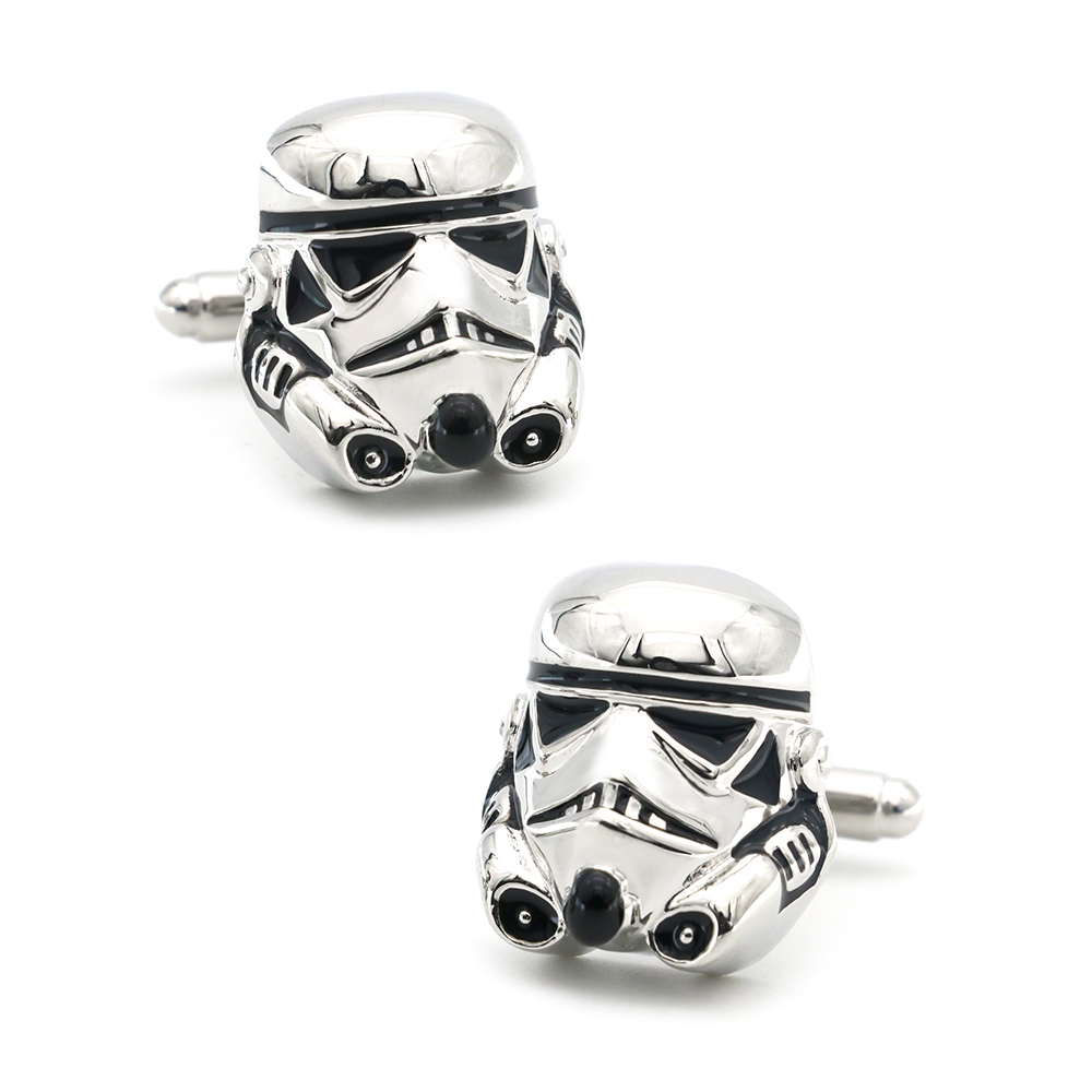 IGame Men's Darth Vader Cuff Links Brass Material Silver Color Star Wars Dark Warrior Cufflinks Free Shipping
