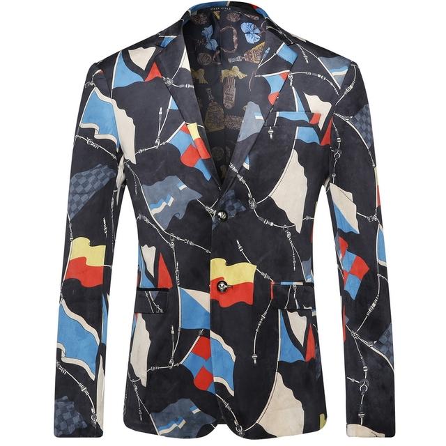 2016 Floral Color de La Mezcla de Los Hombres Blazers Moda Casual Diseñador de la Marca Traje Homme T0112