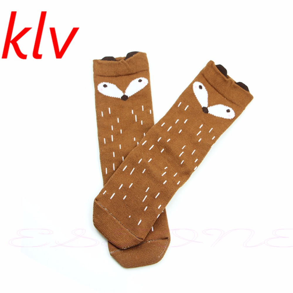 Korean Style Toddlers Kids Girls Fox Pattern Knee High Socks For Age 1-4 Years