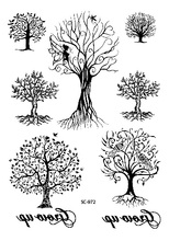 Large Taty Hand Drawing Black White Autumn Genius Trees Water Transfer Body Art Temporary Tattoo Stickers Fake Tatoos