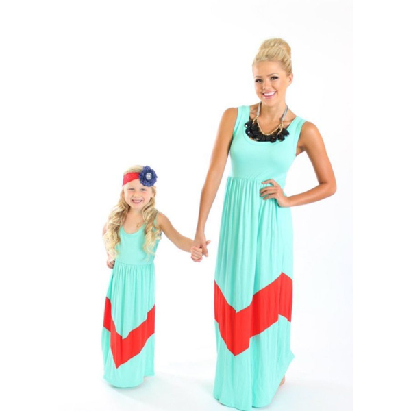 Girls Clothes Wennikids Summer Style Aqua Color Chevron Girl Maxi Dress Cotton Mommy And Me Dresses Mother Daughter Clothes ...