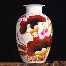 Jingdezhen is the famous lotus singrain hand-painted ceramic vase modern living room decoration
