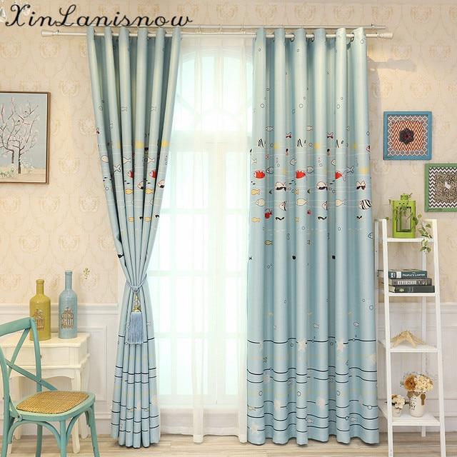 Cartoon Fish Curtains For Living Dining Room Bedroom Cloth Children Printing Roller Blind Kids Boys
