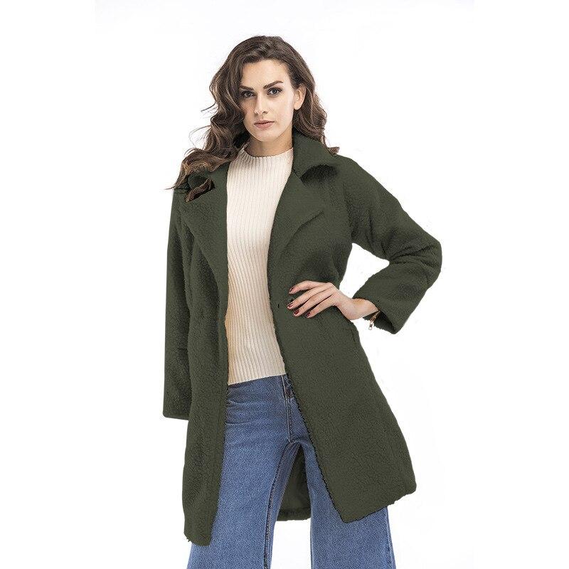 Agneau army Épais À Cheveux Green Femme Noir vent De Manches blanc Cachemire 2017 gris Hiver Longues Manteau Femmes Mode Coupe Nouvelles 5jLc3AR4q