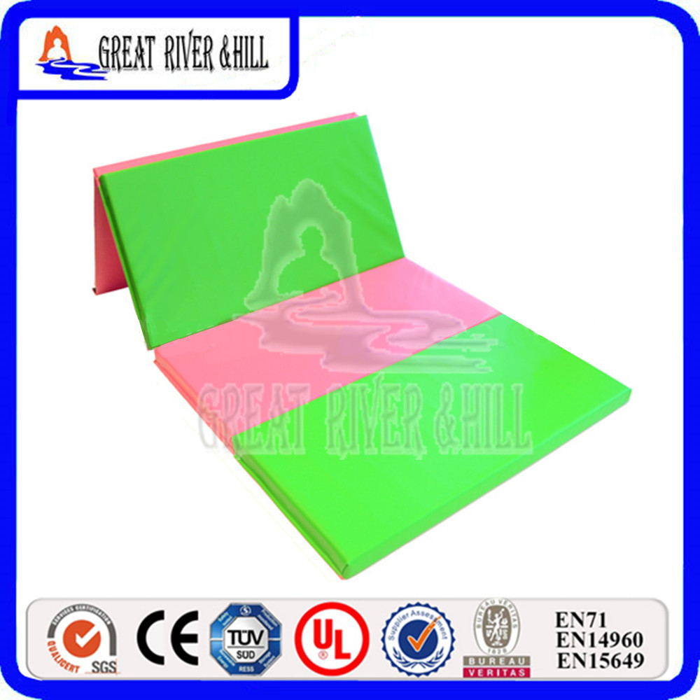 Great River Hill kids folding gymnastics play mat with size 8ftx4ftx2inch